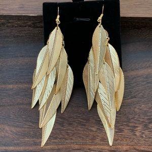 Gold Leaves Long Statement Earrings
